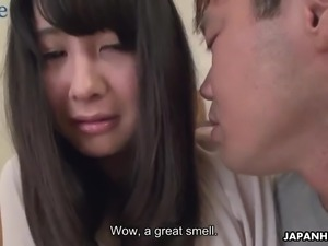 Horny dude helps lovely Japanese gal Ayumi Iwasa to undress before doggy