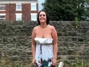Nice naughty babe flashing and masturbing herself outdoors