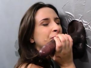 Slut gets gloryhole cream