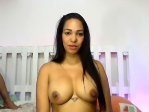 Threesome with 2 big boobs sister 18
