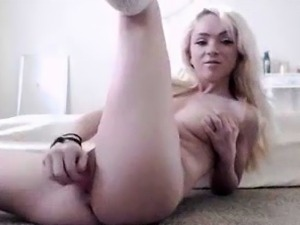 Hot blonde asian chick fingers and toys her pussy solo