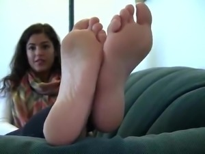 Teen with dick stiffening big soles