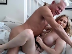 Stacked blonde milf having sex with an older man on webcam