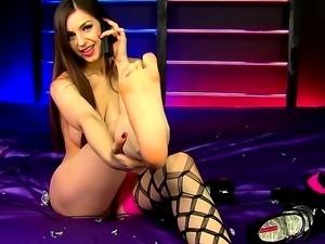 Brunette teen solo stripping