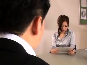 Hot youthful secretary provokes a lewd stud in the office