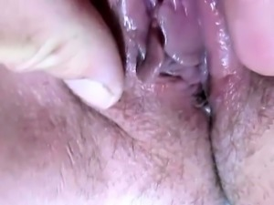 Horny amateur wife has a stiff rod invading her hairy cunt