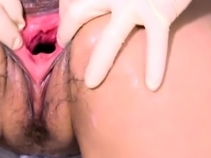 Kinky fetish dykes gaping pussy fisting in the living room