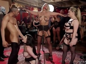 Hot slaves sucking and orgy fucking