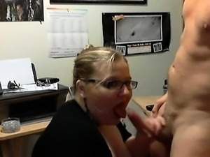 Chubby blonde with glasses gives a sensual blowjob on webcam