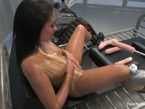 Ebony Aliana Love Screaming to a Machine Fucking Her Pussy