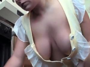 beautiful housewife demonstrates her big nipples