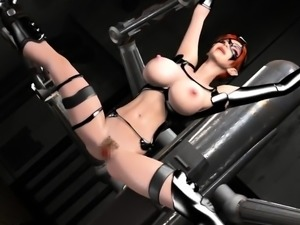 Masked 3D beauty with big round boobs takes a deep pounding