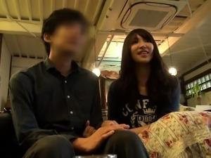 Adorable Asian teen with nice boobs rides a throbbing pole