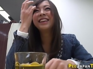 Japanese babe shows pussy