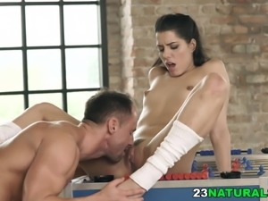 Small tit babe fucks her lover