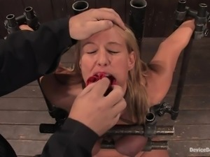 Blonde chick gets gagged and tortured with bondage devices