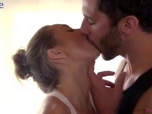Cute ballerina in fluffy tutu Riley Reid desires to ride strong cock on top