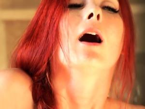 Beautiful redhead orgasms in the bathroom