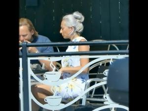 Blonde women sitting