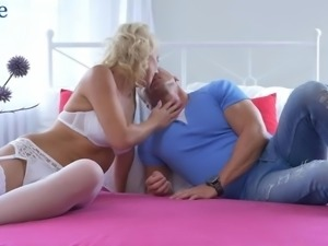 Inviting bald pussy of busty auburn sexpot Luci Angel is fucked in spoon pose