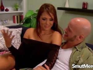 Brunette MILF Monique Fuentes Makes Him Bust One on Her Tits
