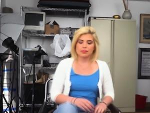 Hot blonde deep throats on horny directors big black cock