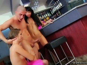 Perverted stud Timo finger fucks two delicious girlfriends near the bar counter