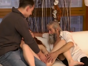 Old granny huge tits and daddy licking pussy first time