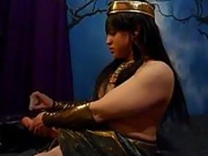 September Egyptian Goddess Cosplay Handjob with Sex Toys