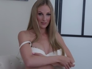 Big breasted lonely and extremely horny auburn lady Cam Angel teases slit