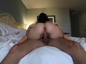 Busty wife with a big booty gets fucked and sprayed with cum