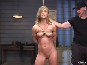 Squirting slut hard banged at slave training