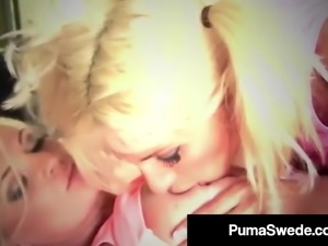 Busty Blonde Bombshells Puma Swede & Bobbi Eden Tongue Fuck!