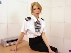Svelte auburn office whore Eva gets rid of thongs to tickle herself