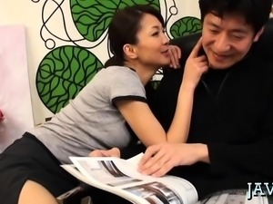 Amazing oriental momma gives a handjob and oral-service job