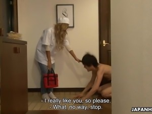 Japanese delivery lady, Runa got fucked by a client, uncenso