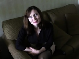 Buxom brunette milf in stockings takes a deep fucking in POV