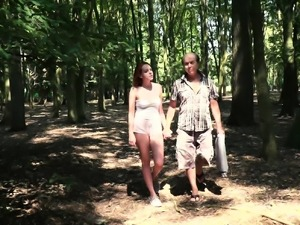 Old guy has sex with teen in the forest