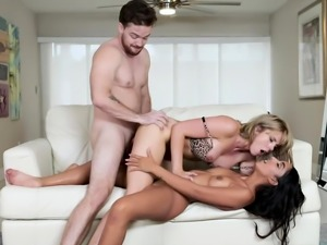 Stepson fucking mom and girlfriend at the same time