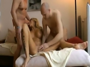 Big breasted blonde milf gets double drilled and facialized