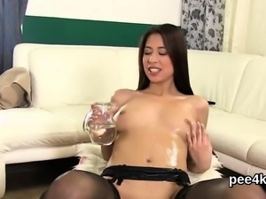 Gorgeous idol gets her tight slit absolute of warm pee and s