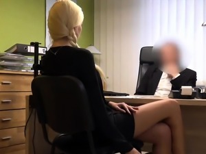 Loan4k. Blonde hottie with pigtail is owned by loan manager