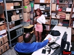 Redhead beauty teen thief fucked by a perv LP officer