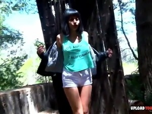 Lusty chick gets pounded outdoors by her man