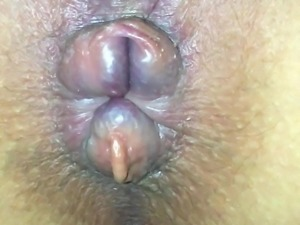 Unwashed pussy gape and swollen asshole