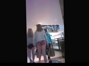 Teen with Jiggly Ass Walking in Mall with friends