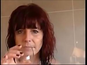 horny milf love to fuck in bathroom