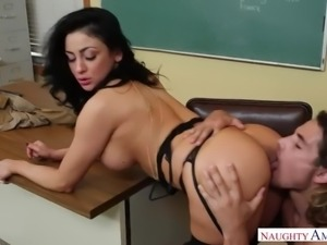Audrey bitoni fucking in the classroom with her black hair