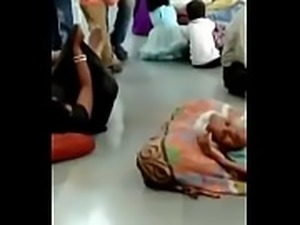 Horny girl fingering in public on railway station