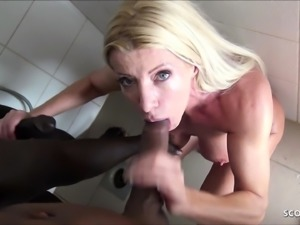 Cuckold film German Hot Wife while Fuck with two Huge Black
